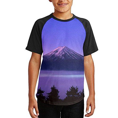 Junior Mount Fuji Raglan Baseball T-shirts Custom Short Sleeve Graphic T Shirt