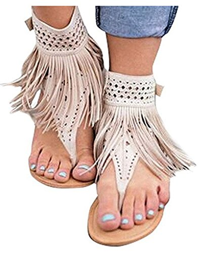Ru Sweet Womens Suede Tassels Thong Flat Sandals Flip Flops Fringe Shoes - Fringe T-strap Sandals