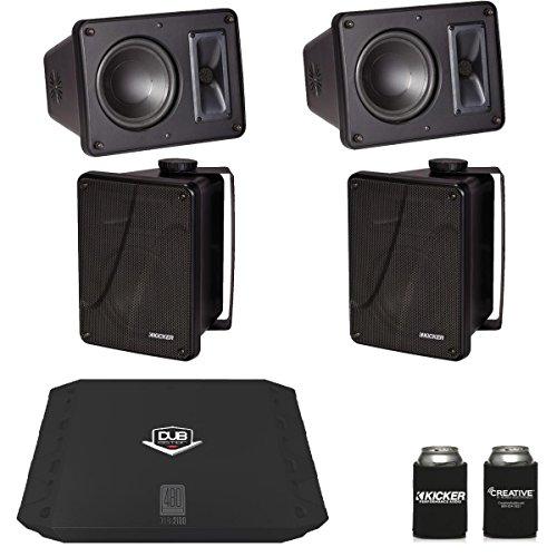 Kicker KB6000 Black Outdoor Speakers (2 Pairs) with Dub 480 Watt ()