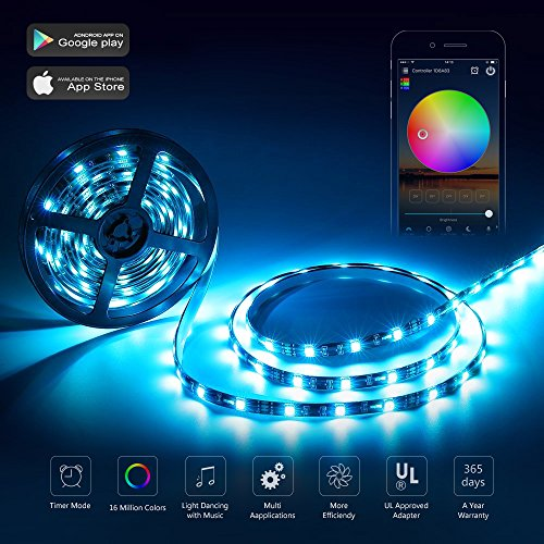 Nexlux LED Strip Lights, Wifi Wireless Smart Phone Controlled Light Strip Kit 16.4ft 150leds 5050 Waterproof IP65 LED Lights,Working Android IOS System,IFTTT, Google Assistant by Nexlux (Image #3)