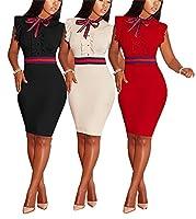 LKOUS Women's Summer Elegant Bowknot Sleeveless Ruffle Bodycon Midi Dress Plus Size S-3XL