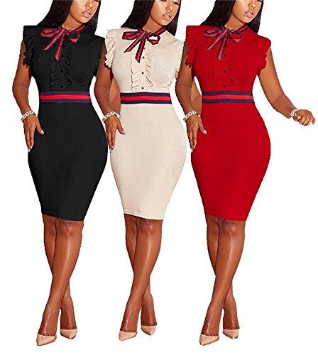 Dress Sleeveless Bodycon Summer S Midi Black Size Plus 3XL Elegant LKOUS Ruffle Bowknot Women's pZ4CwC