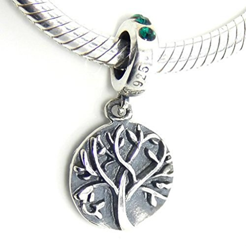 Green Crystal Sterling Silver Family Tree of Life Bead Charm Fits Pandora Charms