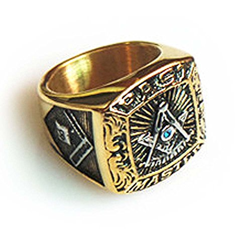 Masonic Rings for Men - Gold Tone Past Master Freemason Ring - Stainless Steel with Silver Color Top with Mason Symbols (Masonic Jewelry) (Size - Master Steel Past