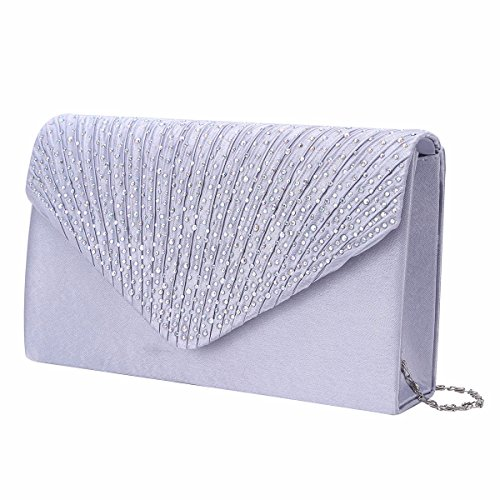 Prom Ladies gray for Women Silver Evening Clutch Envelope Rhinestone Party Bag Satin YiZYiF z1Fn5qH