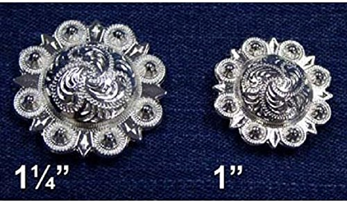[Silver Berry Conchos with Screw - 1.25