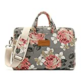 Canvaslife Gray Roses Patten Waterproof Laptop Shoulder Messenger Bag Case Sleeve for 12 Inch 13 Inch Laptop and MacBook Air Pro 11/12/13