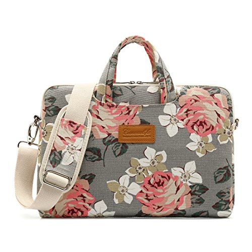 Canvaslife Gray Roses Patten Waterproof Laptop Shoulder Messenger Bag Case Sleeve for 12 Inch 13 Inch Laptop and MacBook Air Pro 11/12/13 (Hp Laptop Best Price In India)