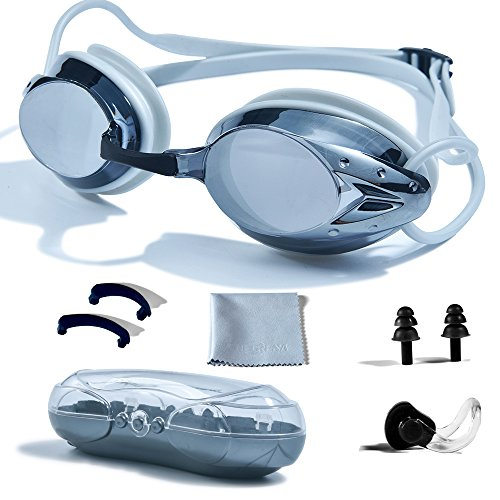 (PHELRENA Swimming Goggles, Professional Swim Goggles Anti Fog UV Protection No Leaking for Adult Men Women Kids Swim Goggles with Nose Clip, Ear Plugs, Protection Case and Interchangeable Nose Bridge)
