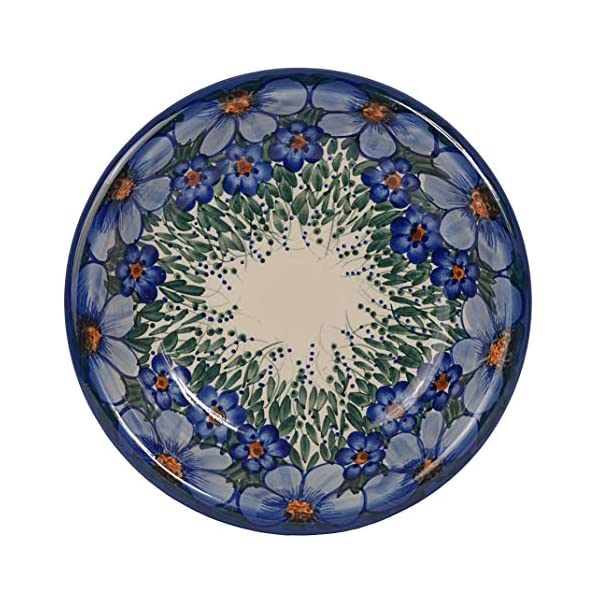 Traditional Polish Pottery, Handcrafted Ceramic Soup or Pasta Plate 22cm, Boleslawiec Style Pattern, T.201.CREDO