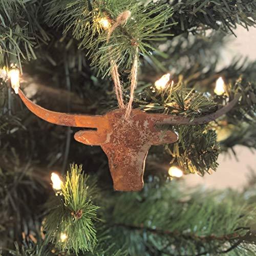- Single or Set of 3 Texas Longhorn Ornament in Rusty Metal