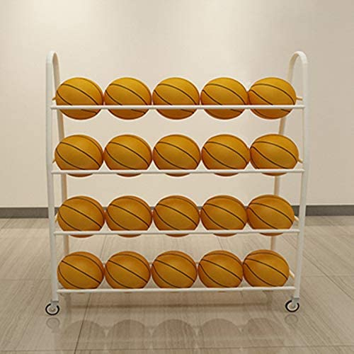 TMGY Basketball Racks for BallsWheelsIron Basketball Display Stand EquipmentBall Cart Ball Racks for Garage Ball HolderVolleyball Sports Ball Storage Ball Organizer(White4-Tier35 Balls) / TMGY Basketball Racks for BallsWheelsIron B...