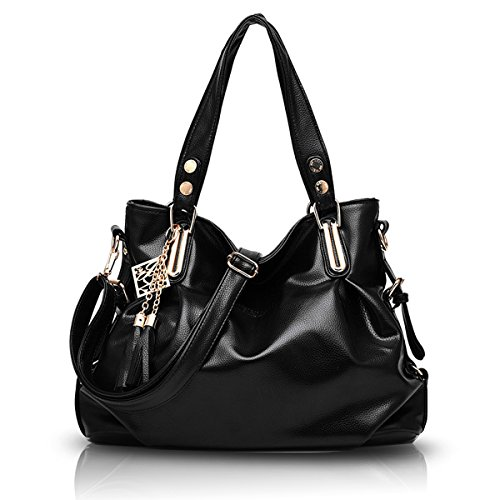 Shoulder Tisdaini Leather Soft Bag PU Handbag Women's Black Crossbody Casual WRPqRUYn