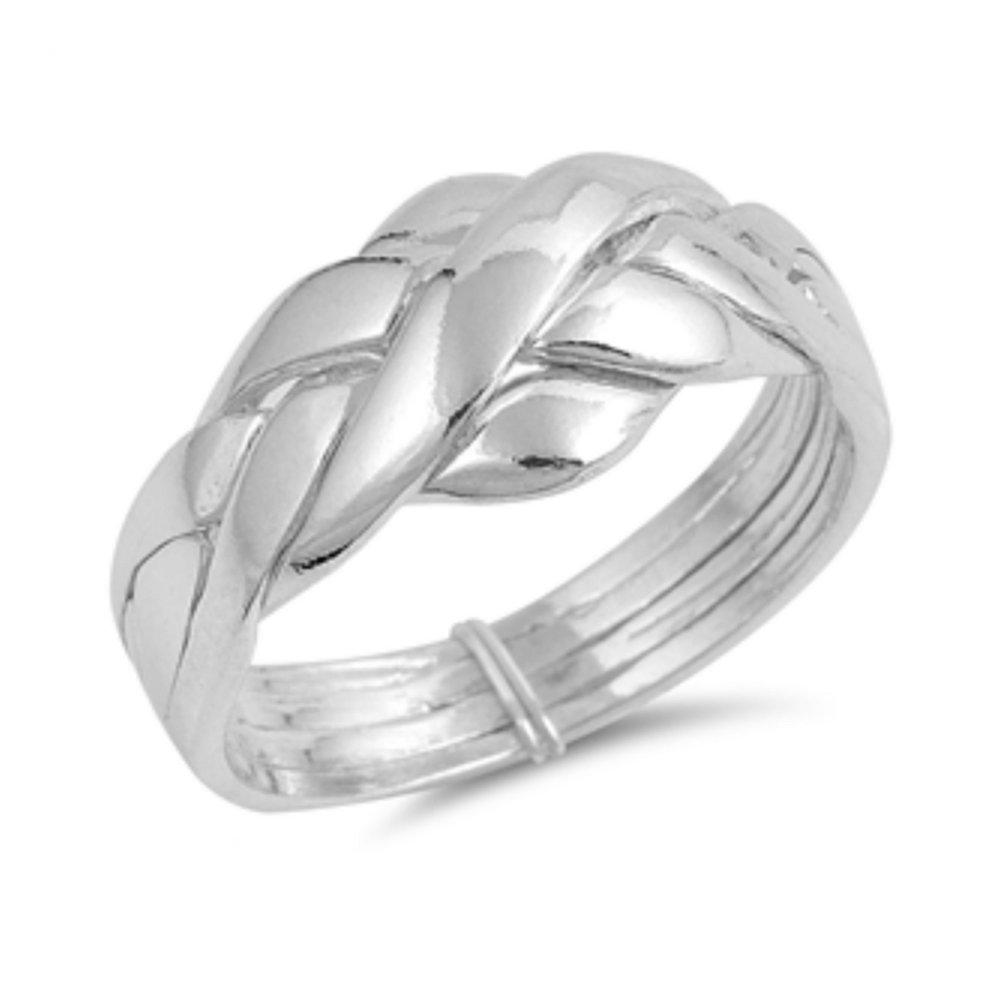 925 Sterling Silver Puzzle Ring Glitzs 10196