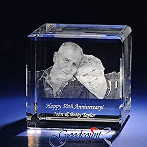 Amazon Com Personalized Photo Etched Crystal Flat Cube