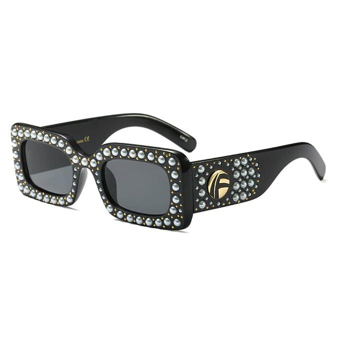59b0432ab522 Vintage Rectangular Pearl Jeweled Sunglasses for Women Large Crystal Glasses  (Black, 65)