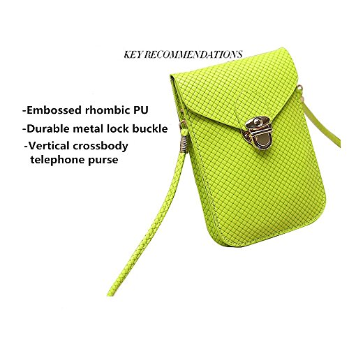 PU Bright Cellphone Leather Single Pouch Mini Shoulder Square Embossed Surface Rose Red Peiji Crossbody Bag qpdP1EqT
