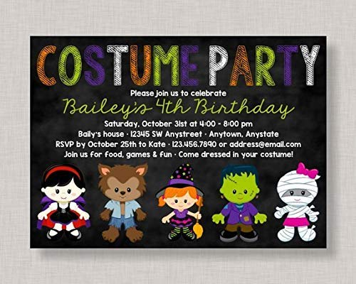 Vintage Wood Sign Halloween Birthday Invitation Halloween Birthday Party Invitation Costume Birthday Party Invitation Kids Halloween Party Invitation Dress Up Home Decor ()