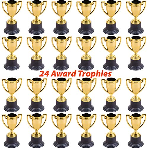 "- 24 Plastic Trophies for Kids | Gold Award Trophy Set of 4"" Trophy Cups 