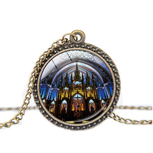 Notre Dame de Paris Cathedral Pendant Necklace – Haluoo Vintage Steampunk Glass Bronze Pendant Long Chain Necklaces French Lovers Jewelry Gift for Men and Women (D)