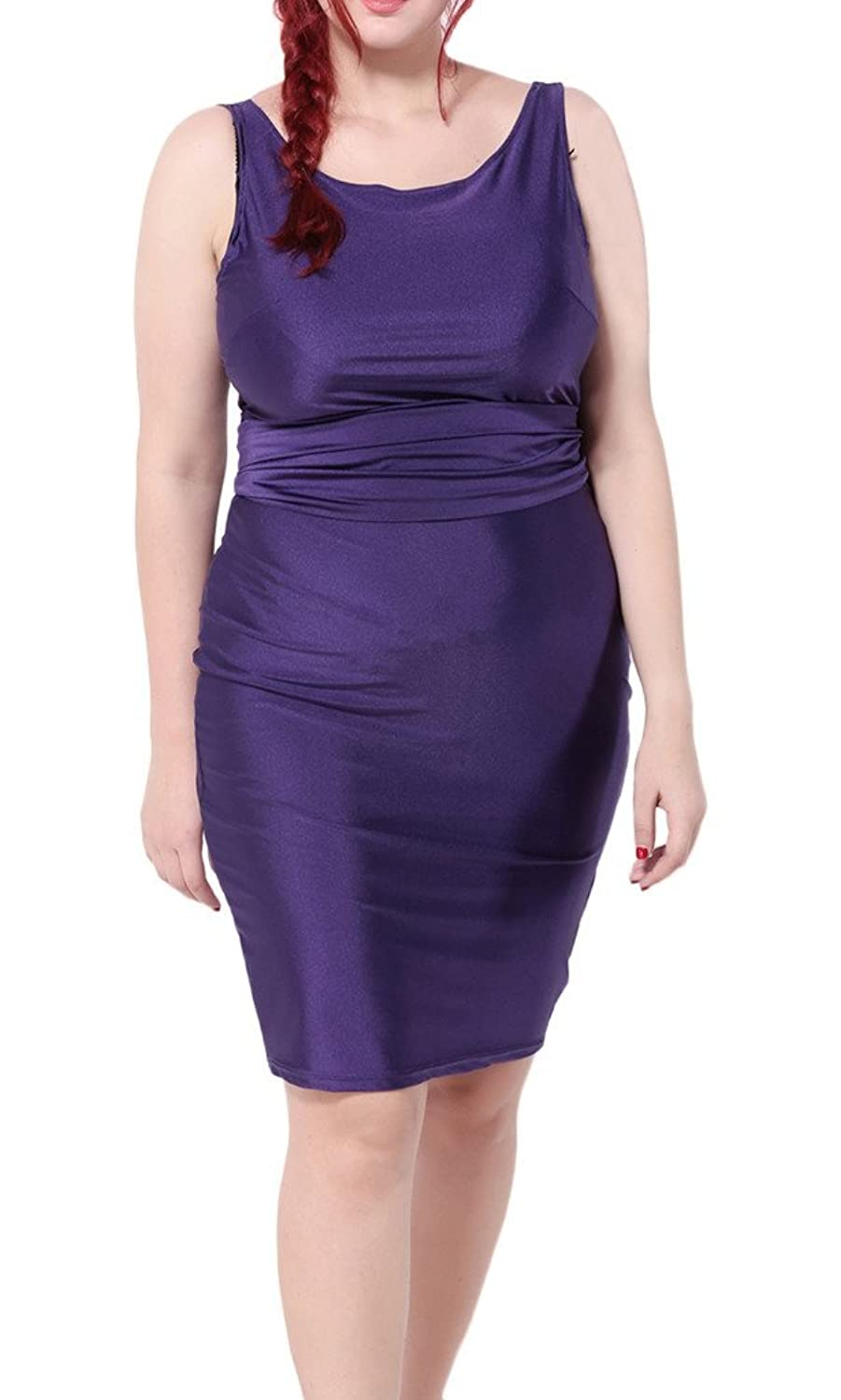 Bigood Plus Size Sexy Ruckenfrei Damen Ohne Armel Knielanges Kleid Party Kleid Violett