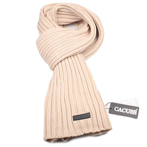 CACUSS Mens Long Thick Cable Cold Winter Warm Scarf Soft Knitted Neckwear
