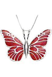925 Sterling Silver Butterfly Necklace Pendant Polymer Clay Handmade Jewellery, 16.5""