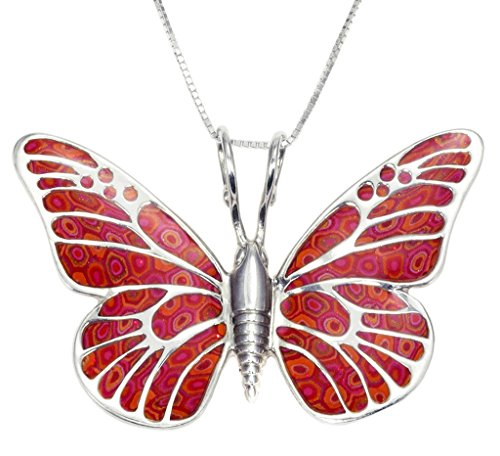925 Sterling Silver Butterfly Necklace Pendant Red Polymer Clay Handmade Jewelry, 16.5