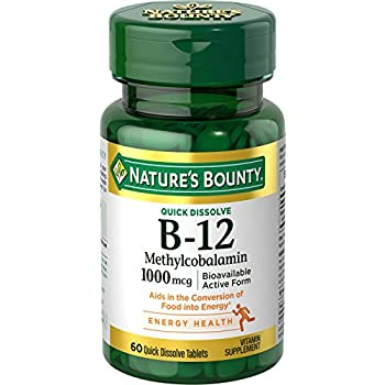 Nature's Bounty Methylcobalamin Vitmain B-12 1000 mcg, 60 Quick Dissolve Tablets