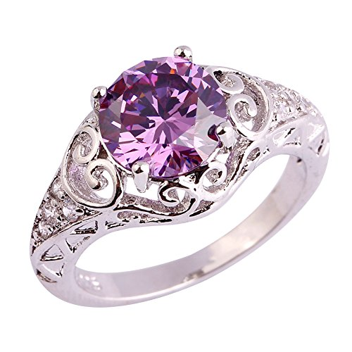 Psiroy 925 Sterling Silver Created Amethyst Filled Floral Cocktail Anniversary Ring Size 7
