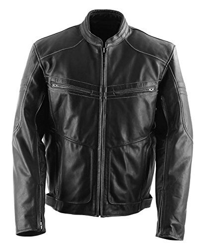 (Black Brand Men's Leather Cutthroat Motorcycle Jacket (Stealth, Medium))