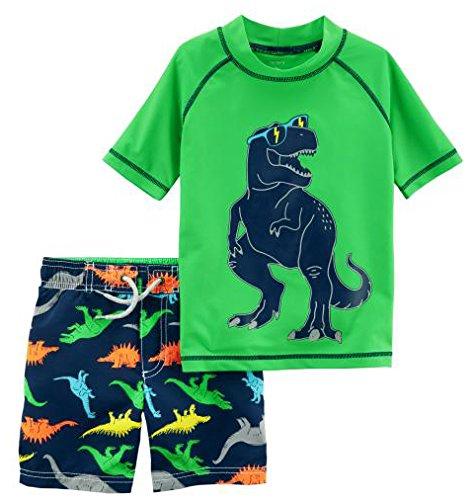 Carter's Boys' Toddler Rashguard Set, Green Dino, 3T ()