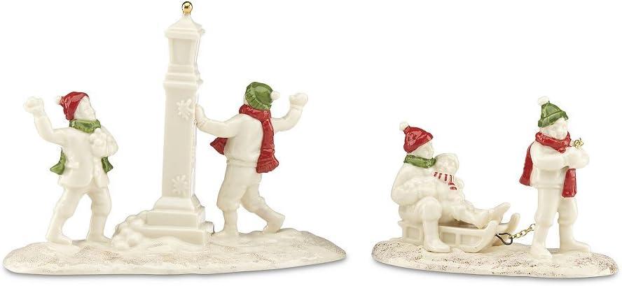Lenox Porcelain Mistletoe Park Village Treasures Collection Park Snow Day 2-Piece Set