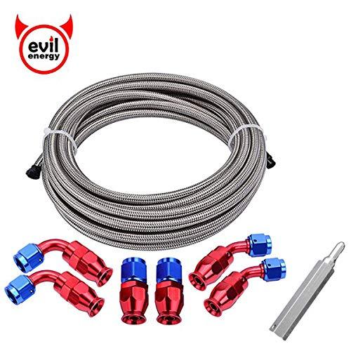 EVIL ENERGY 10AN Teflon PTFE E85 Fuel Line Kit 10Ft Stainless Steel ()