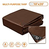 Sunshades Depot 10 x 20 Feet Super Heavy Duty 16 Mil Waterproof Dark Brown Poly Tarp