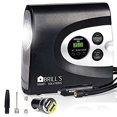 BRILL'S 12V DC Portable Tire Inflator Pump, 150 Psi Electric Air Compressor for Cars, Bikes, Motorcycles and Balls. Carry Case and USB Car Charge Included