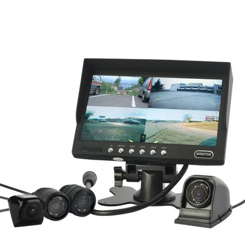 Car Rearview/Frontal Monitoring System Includes 4 Waterproof & Nightvision Cameras - Rear View Monitoring System