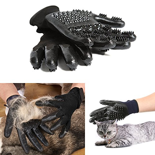 Original Dream Pet Grooming Glove for Cats, Dogs & Horses,Shedding Mitts, Hair Removal Mitt, Bathing Brushes, Combing Massage Gloves - One Pair [2018 Upgraded]