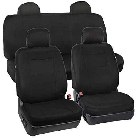 Full Set Black Seat Covers For Car Auto SUV Polyester Cloth