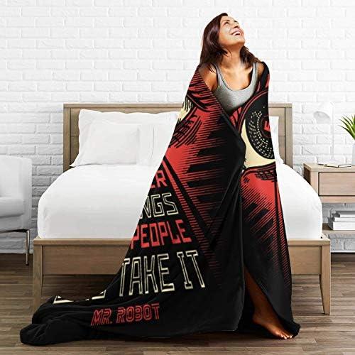 Lphdfoxh1 Mr. Robo – Manta de franela de lana, manta de viaje, suave y cálida, Franela., negro, 60