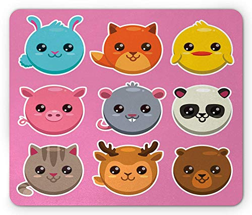 Kawaii Mouse Pad, Zoo Animals Pattern Panda Mouse Pig Fox Cat Deer and Bear Colorful Cartoon Design, Standard Size Rectangle Non-Slip Rubber Mousepad, Multicolor,9.8 x 11.8 x 0.118 -