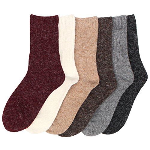 Angora Wool Socks - Women's 6 Pack Angora Color Fashion Warm Thick Thermal Crew Quarter Winter Socks (one size)
