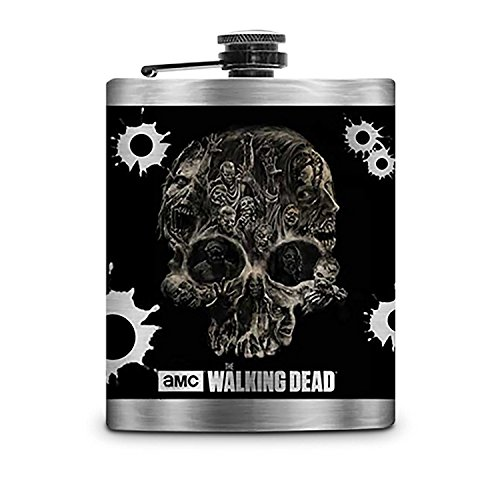 The Amc Walking Dead Black Skull Flask With Silver Colored Body