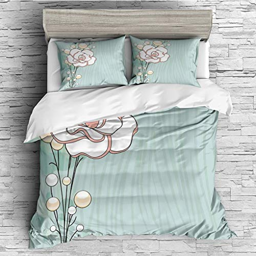 3 Pieces (1 Duvet Cover 2 Pillow Shams)/All Seasons/Home Comforter Bedding Sets Duvet Cover Sets for Adult Kids/Double/Flower,Romantic Rose Sign of Eternal Love with Pearls The Purity Icon Print,Baby