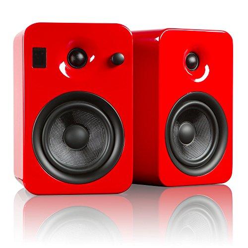Kanto YUMI Premium Powered Bookshelf Speakers with Wireless Bluetooth 4.0 aptX Technology – Gloss Red