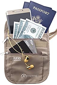 Travel Neck Wallet, Water Resistant Passport Holder Pouch with RFID Blocking