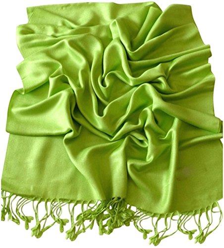 Lime Green Apparel - CJ Apparel Lime Green Solid Color Design Shawl Scarf Wrap Pashmina SecondsNEW