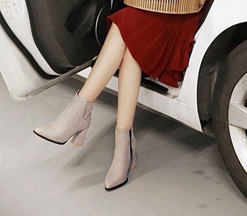 Aisun Damen Elegant Spitz Zehen Blockabsatz Kurzschaft Chelsea Stiefel Mit Reißverschluss Beige
