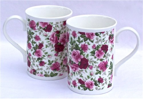 Pair Fine English Bone China Mugs - Summertime Pink Rose Chintz