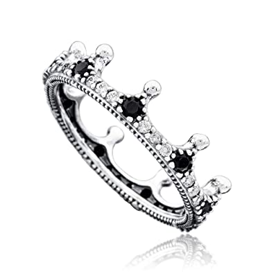d858ab18d Amazon.com: PANDORA Enchanted Crown Ring, Clear CZ & Black Crystals: Jewelry